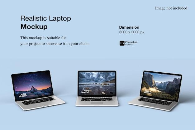 Realistic laptop mockup design isolated