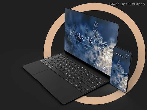 Realistic laptop and smartphone mockup design