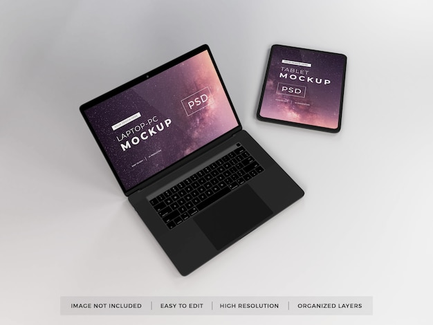 Realistic laptop and tablet device mockup template