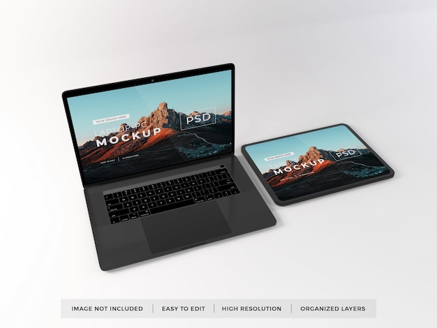 Realistic laptop and tablet device mockup