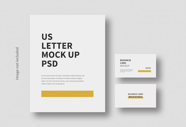 Realistic letter and business card mockup isolated Premium Psd
