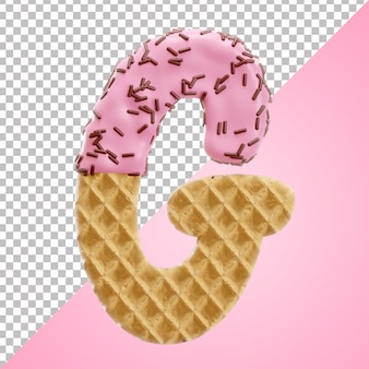 Realistic letter g alphabet waffle with chocolate sprinkles in 3d style