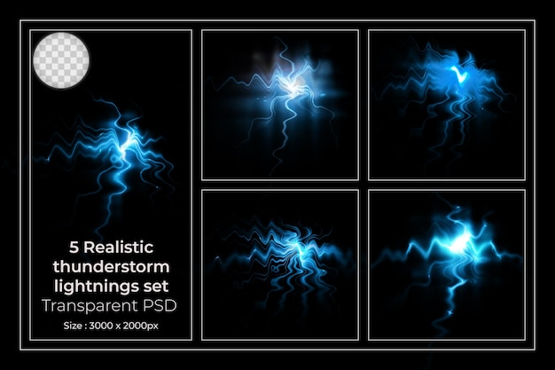 Realistic lightning collection of isolated thunderbolts on transparent set