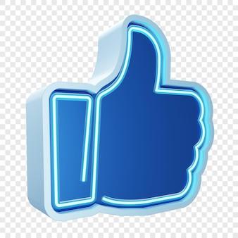 青いネオンライトで親指やシンボルのようにリアル