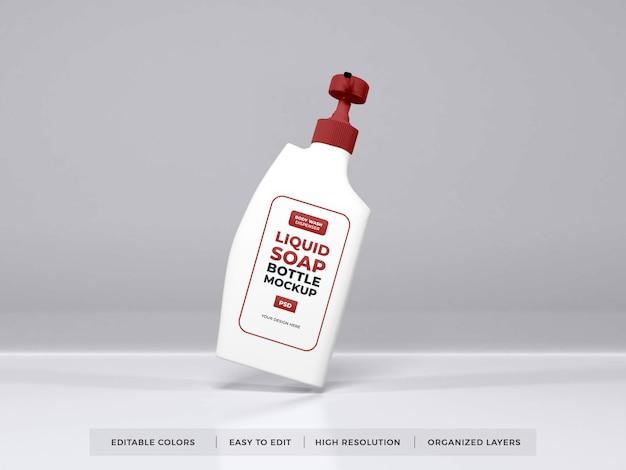 Реалистичный макет упаковки бутылки жидкого мыла