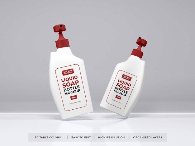 현실적인 액체 비누 병 포장 모형