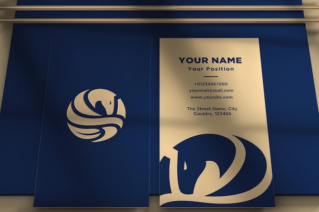 Realistic logo and business card mockup