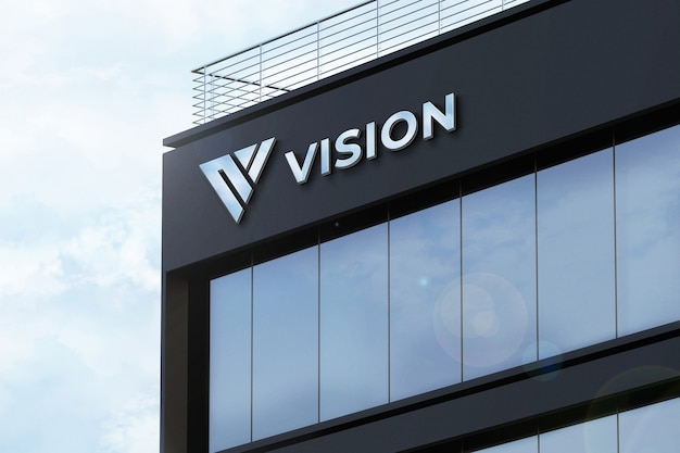 현실적인 로고 모형 3d 로그인 회사 건물