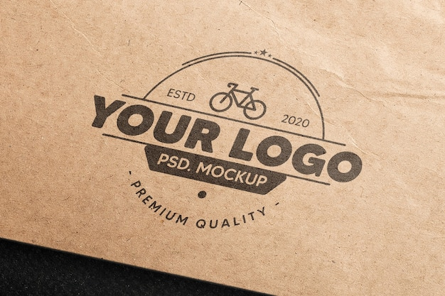 Realistic logo mockup in brown paper