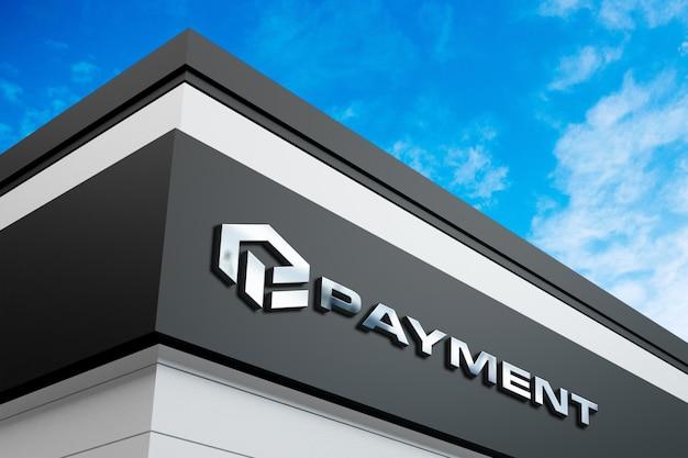 Realistic logo mockup on building