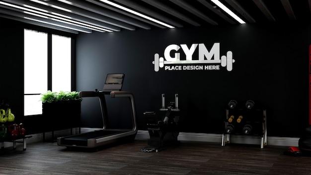 Realistic logo mockup in fitness or gym room mockup