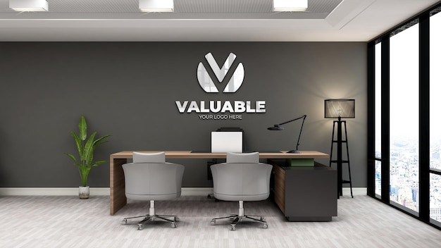モダンなインテリアデザインのオフィスビジネスマネージャールームのリアルなロゴのモックアップ