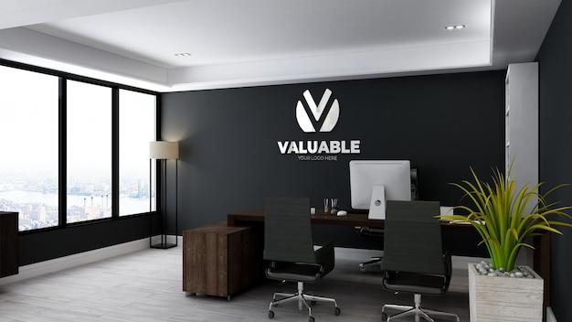 Реалистичный макет логотипа в комнате офис-менеджера