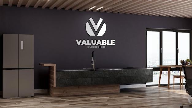 사무실 식료품 저장실 또는 주방 공간에서 현실적인 로고 모형
