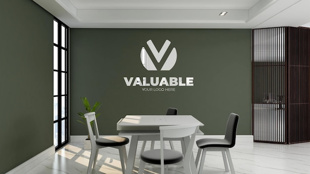 녹색 벽과 사무실 회의실에서 현실적인 로고 모형