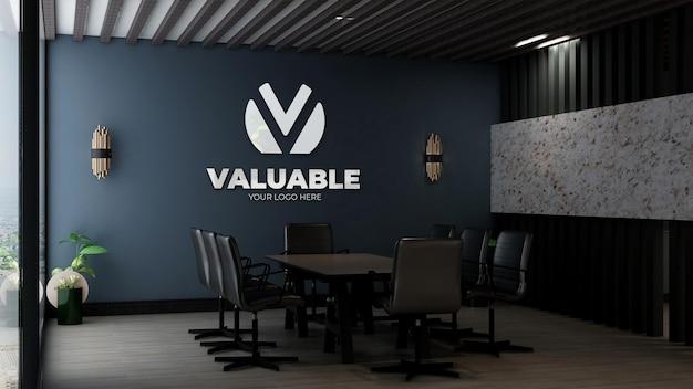 Реалистичный макет логотипа в офисном конференц-зале с роскошным дизайнерским интерьером