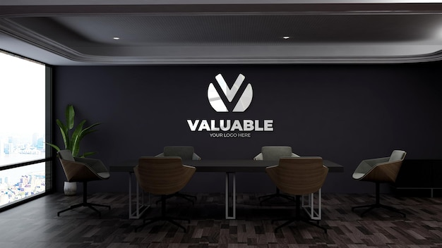 Realistic logo mockup in the modern business meeting space