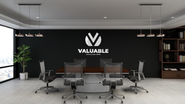 Realistic logo mockup in modern meeting room