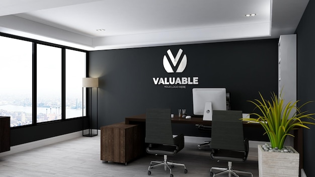 Realistic logo mockup in office manager room