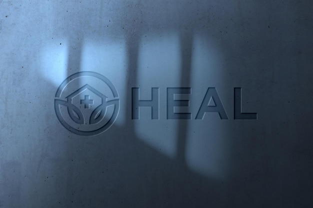 Реалистичный макет логотипа на стене