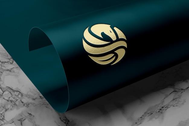 Realistic logo mockup on paper