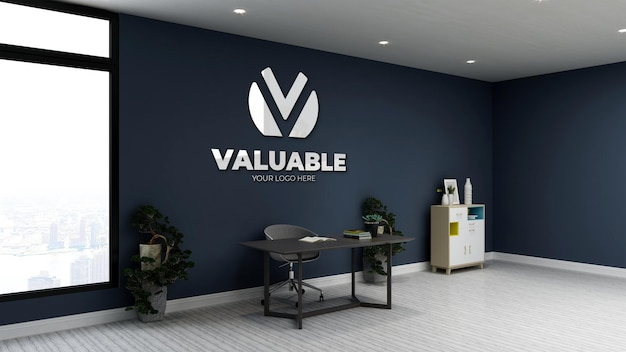 Realistic logo mockup in private home office