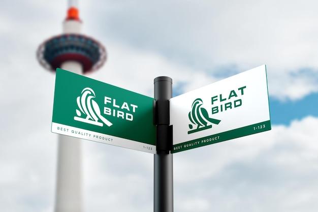 Realistic logo mockup on road sign