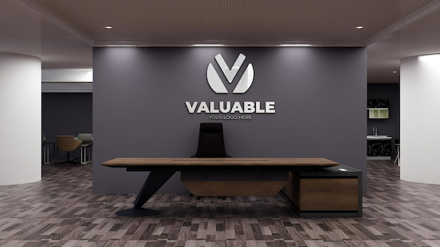 접수 사무실 방에 현실적인 로고 모형 기호