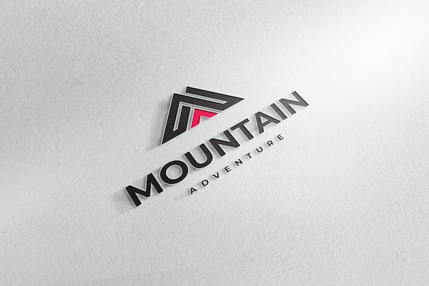 Realistic  logo mockup sign white paper background