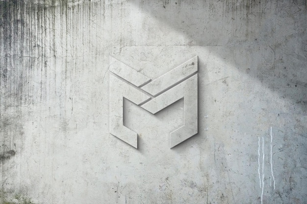 Realistic logo mockup on wall with 3d effect