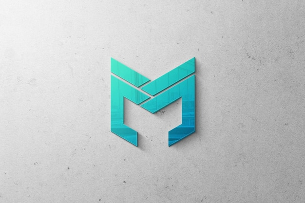 Realistic logo mockup with 3d effect on wall