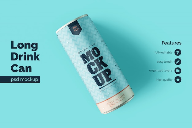 Realistic long metallic drink can mockups templates in resting and leaning left in top view