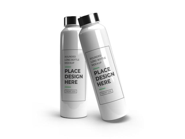Realistic long rounded plastic bottle mockup