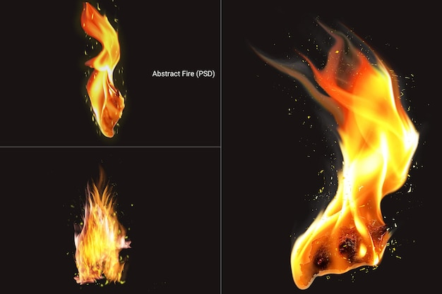 Realistic looking fire flame set rendering