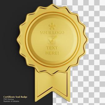 リアルな高級ゴールドサークル証明書シールバッジリボン編集可能なモックアップ