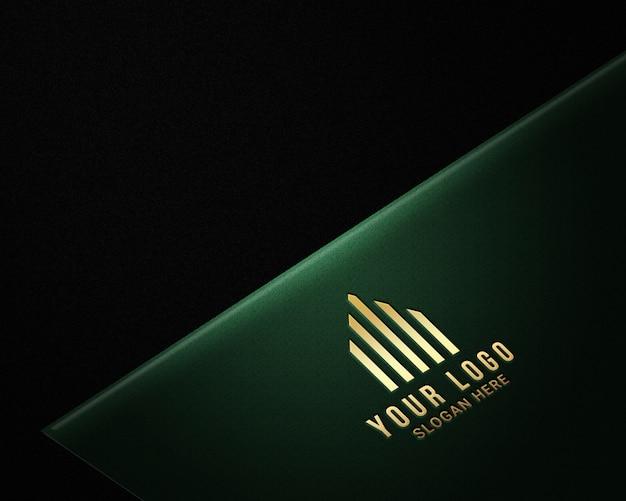 Realistic luxury gold logo mockups