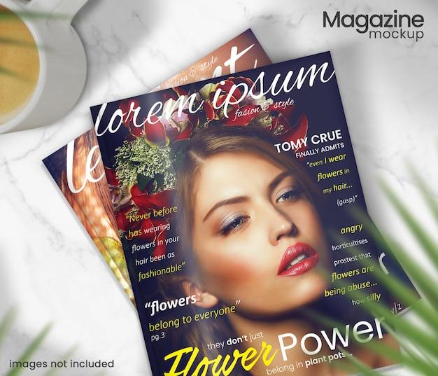 リアルな雑誌の表紙のモックアップデザイン
