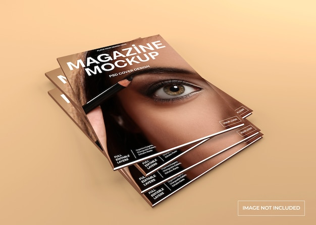 Realistic magazine cover mockup isolated