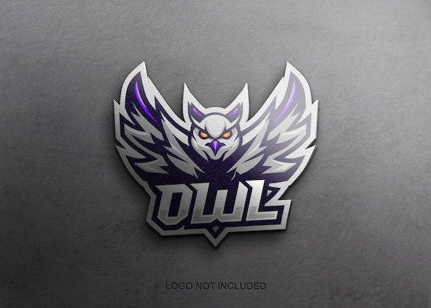Realistic mascot logo on wall mockup