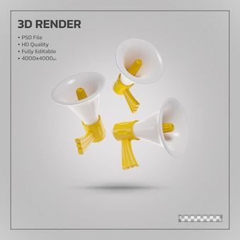 Realistic megaphone yellow realistic 3d rendering isolated