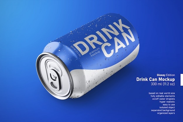 Realistic metal can of soda drink regular size in resting position mockup