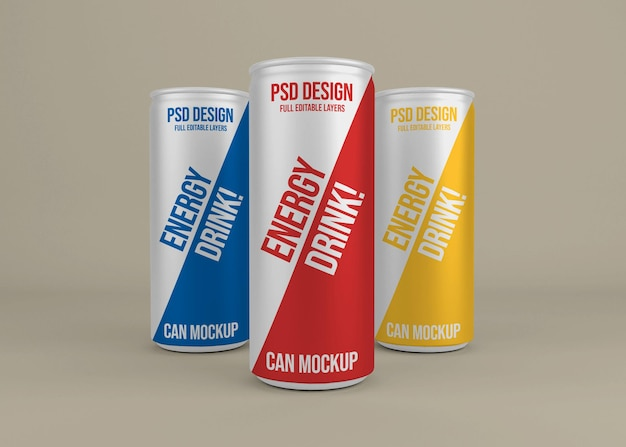 Realistic metal energy drink can mockup