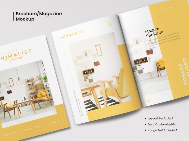 Realistic and minimalist modern, cover and opened bi-fold close up brochure or magazine mockup with template layout design