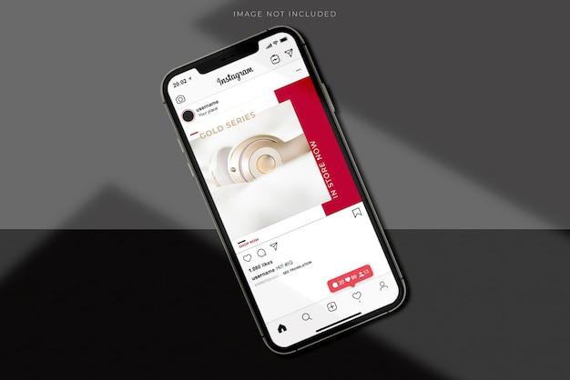 シャドウオーバーレイ付きの現実的なモバイルスマートフォンモックアップシーンクリエーター。ブランディングアイデンティティ用のテンプレート