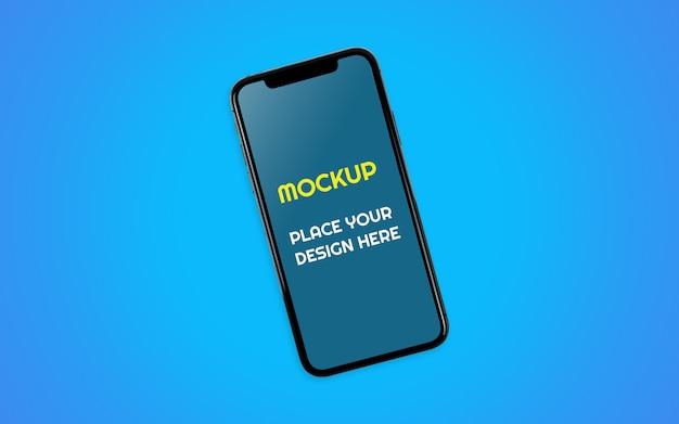青い背景を持つ現実的なモバイルスマートフォンモックアップ