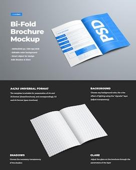 デザインパンフレットのプレゼンテーションのための現実的なモックアップ