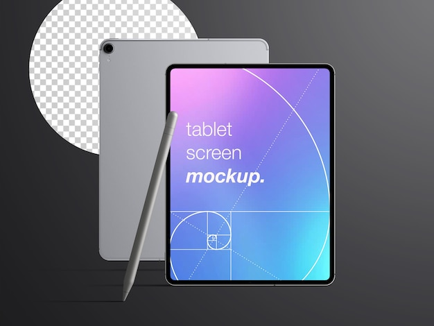 Realistic mockup isolated of front and back tablet device with stylus pencil