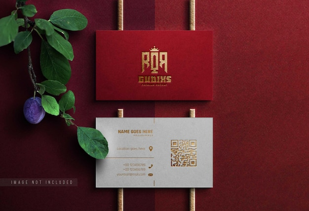 Realistic mockup logo  red business card
