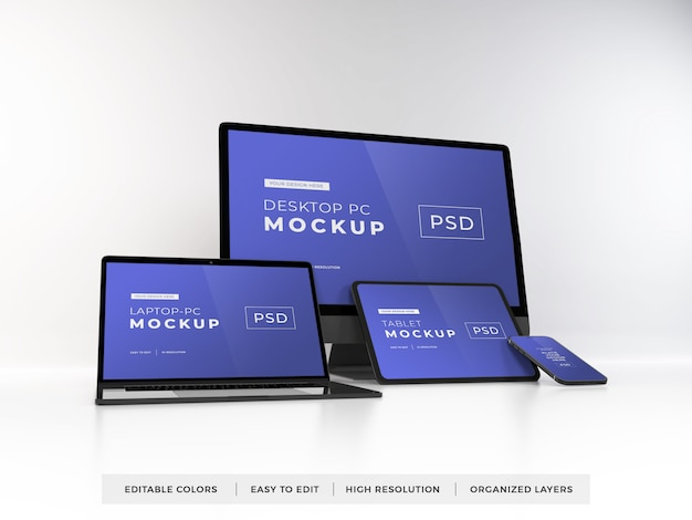 Realistic mockup of multiple devices