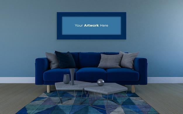 Реалистичный макет 3d-рендеринга дивана и пустой рамки для фотографий mockup design
